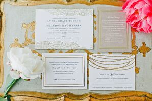 White Invitations With Gold Glamorous Design