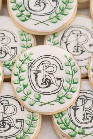 Preppy Cookies with Custom Calligraphy Crest