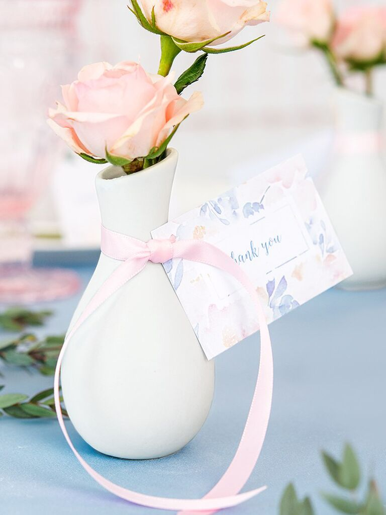 Mini bud vases for a cute bridal shower favor idea