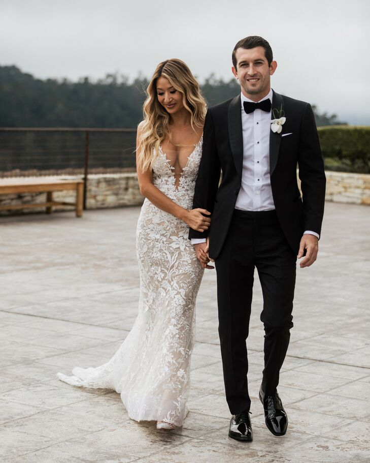 Bride and Groom Walking and Holding Hands at Tehama Golf Club in Carmel-By-The-Sea, California