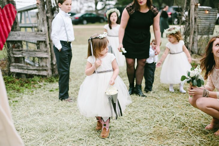 ab295f7449b47 Cowboy Boots Flower Girl with Flower Bucket