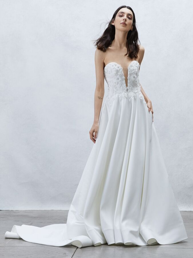 Alyne Collection strapless ball gown with open back