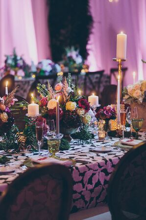 Vibrant, Fall-Inspired Centerpieces Atop Leaf-Print Linens