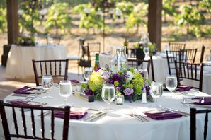 White and Purple Dining Table Linens