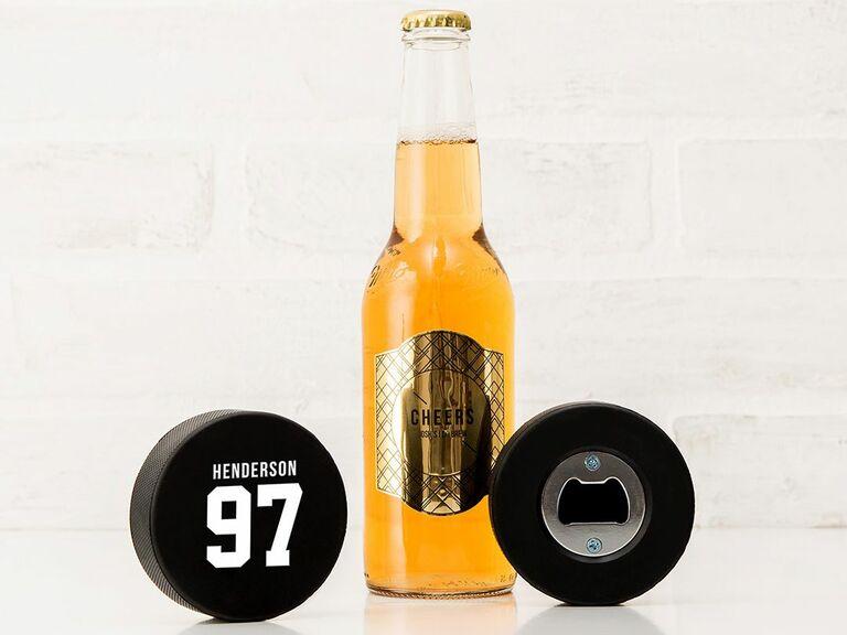 custom hockey puck bottle openers