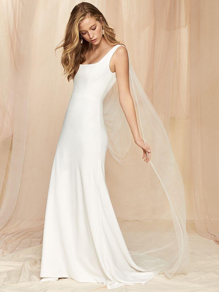 Savannah Miller silk gown with sport cut straps