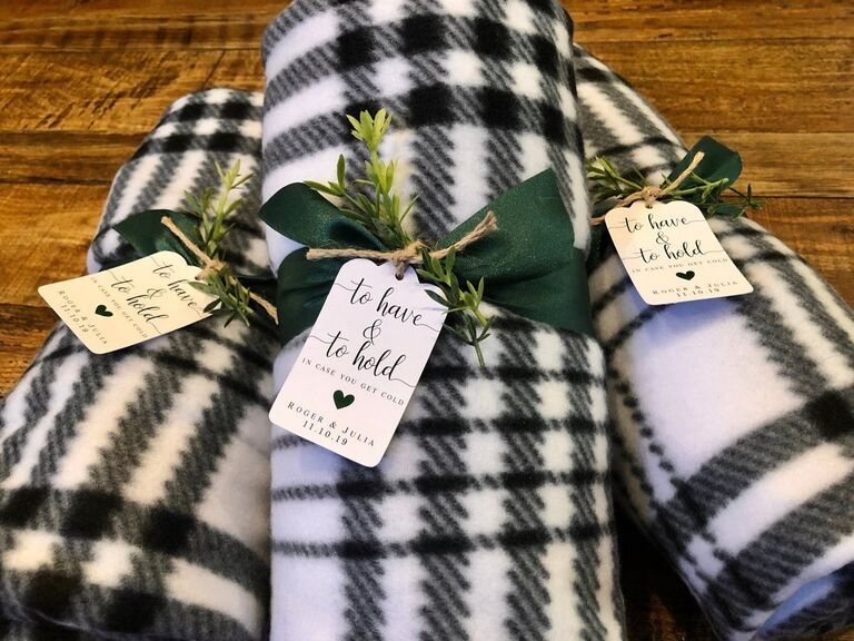 Blanket wedding favor tags