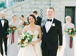 "Leslie Goodrich (28 and a senior logistics integration manager) and Tyler Michels's (29 and a senior underwriter) wedding was inspired by ""a feminine"