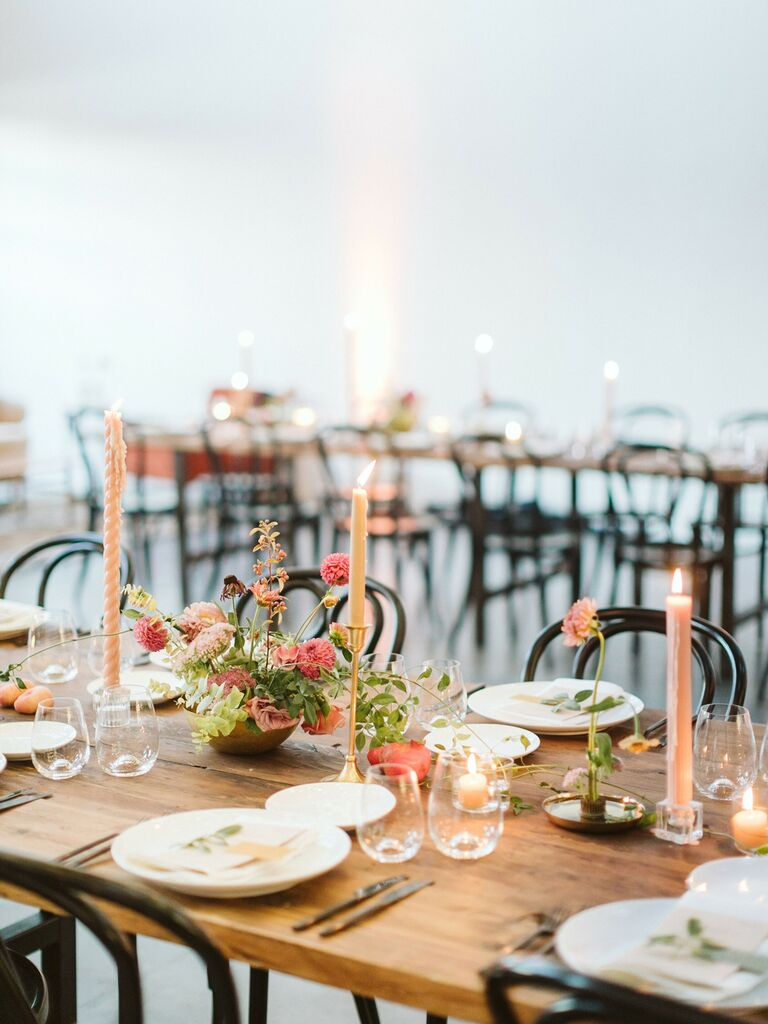spring wedding centerpieces pastel candles
