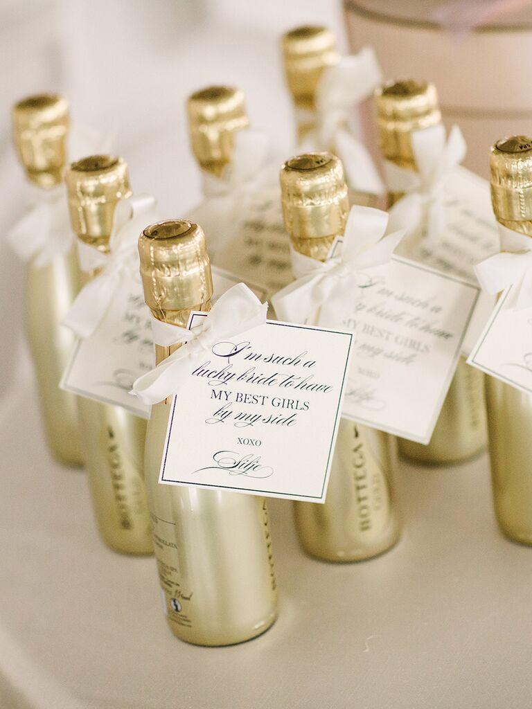 Mini champagne bottles for winter wedding favors