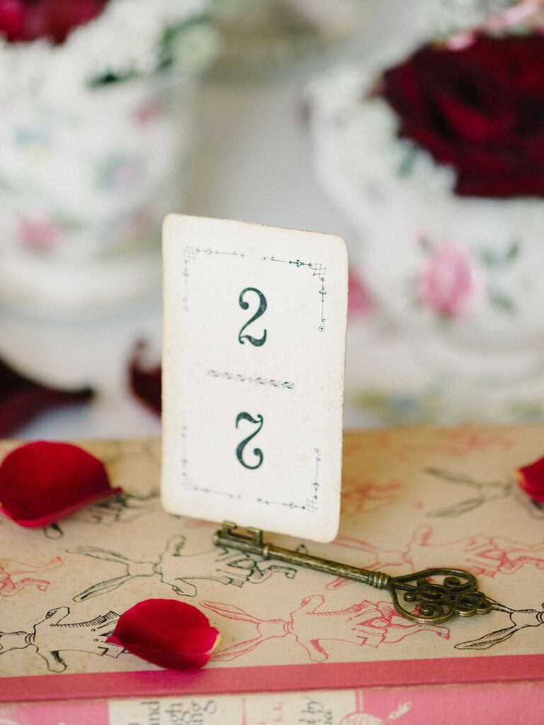 Vintage playing card wedding table number with key holder