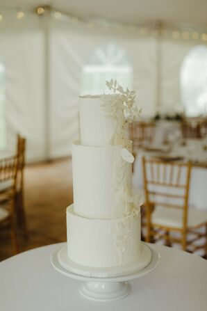 All-White Three-Tier Cake for Michigan Wedding