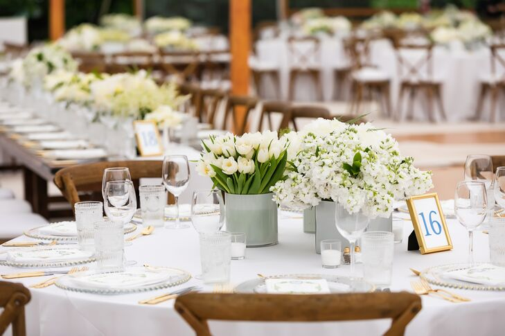 Tulip and Hydrangea Centerpieces in Cement Vases