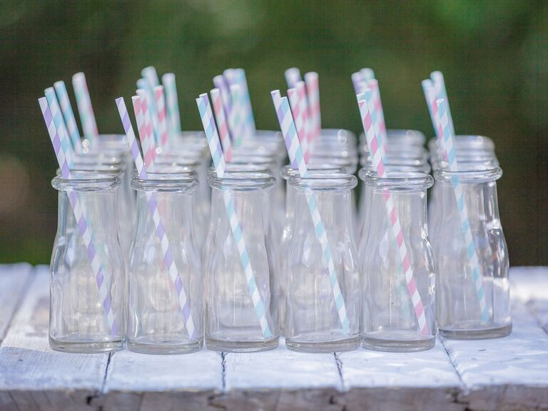 Pastel colors wedding cocktail straws