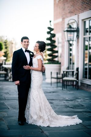 Classic Black-Tie Groom and Bride Donning Lace