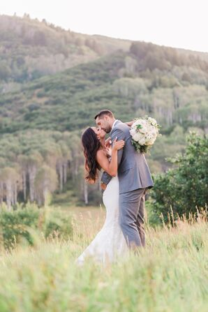 Classic Gray Groom's Suit and Bride's Elegant Down Hairstyle