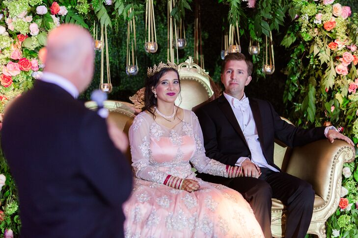 Shivani and Nick Hawkins went for bold and bright for their multicultural bash—a weekend-long event that included a Christian ceremony, a traditional
