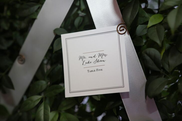 Glamorous Escort Card Display on Leaf Wall