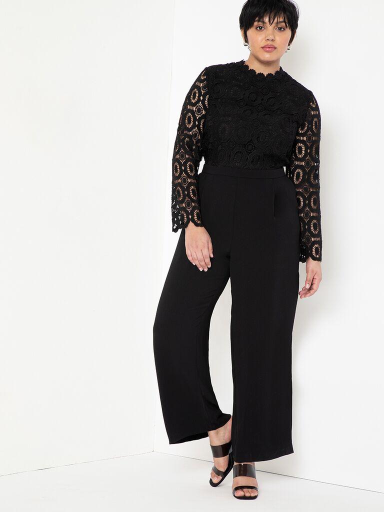 Lace long sleeve black jumpsuit