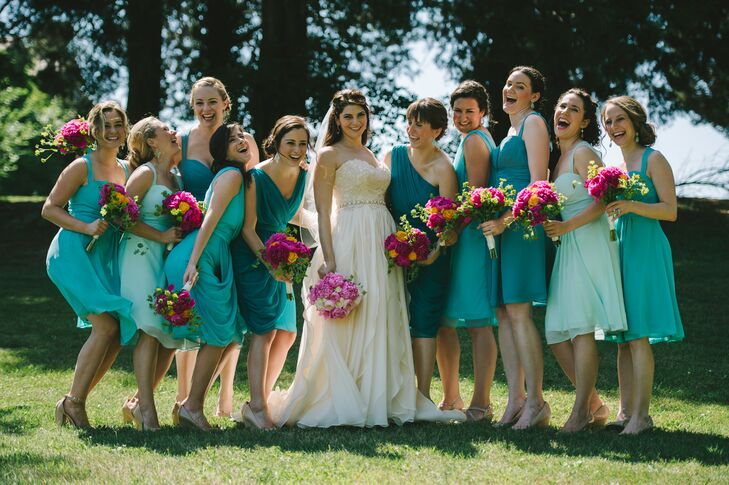 Jess wanted to veer away from choosing the same dress for all 10 of her bridesmaids. She narrowed the choices to three styles in five shades of blue, then let the bridesmaids choose the one they wanted.
