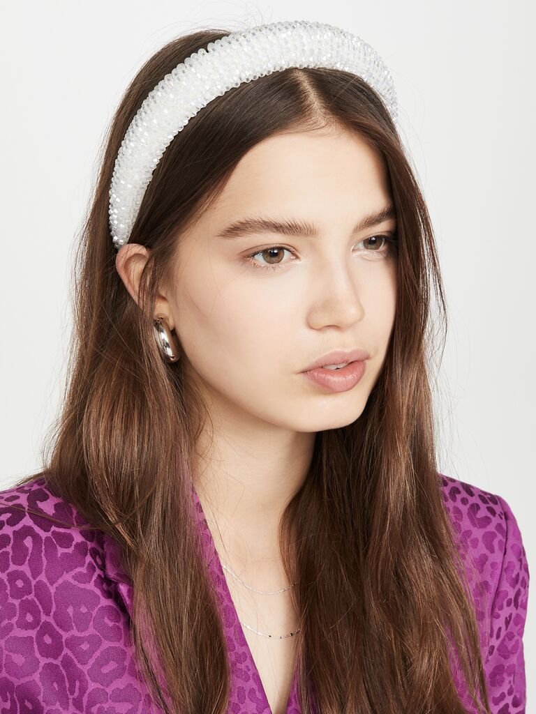 Dense beaded padded white bridal headband