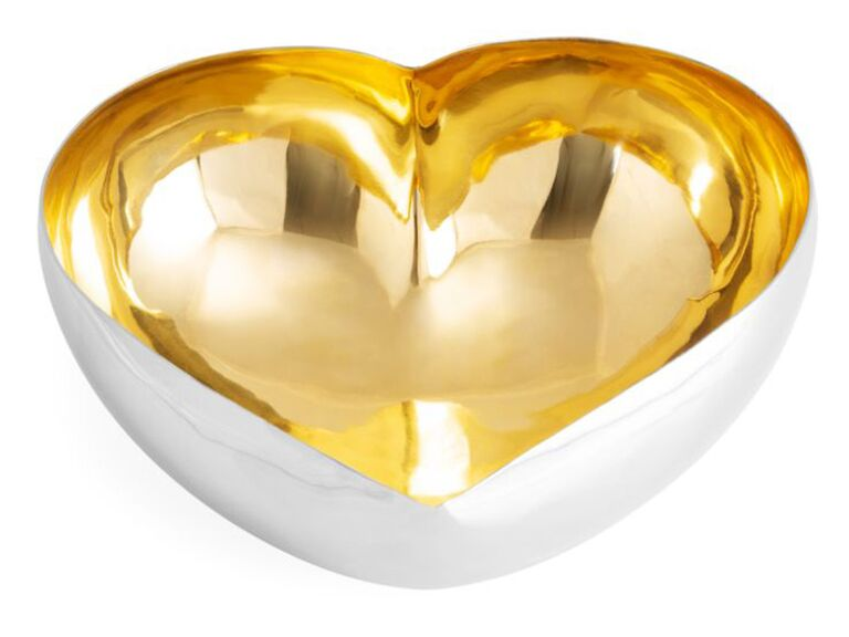 Gold heart serving dish