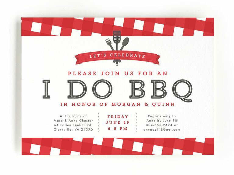 Red barbecue engagement party invitation