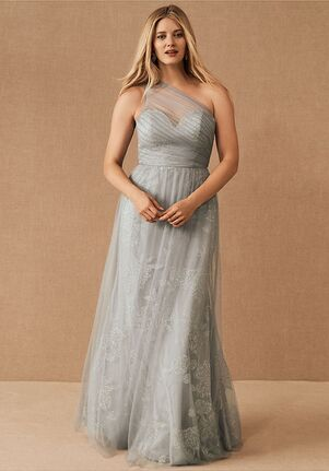 BHLDN (Bridesmaids) Phoebe Dress in Pewter One Shoulder Bridesmaid Dress
