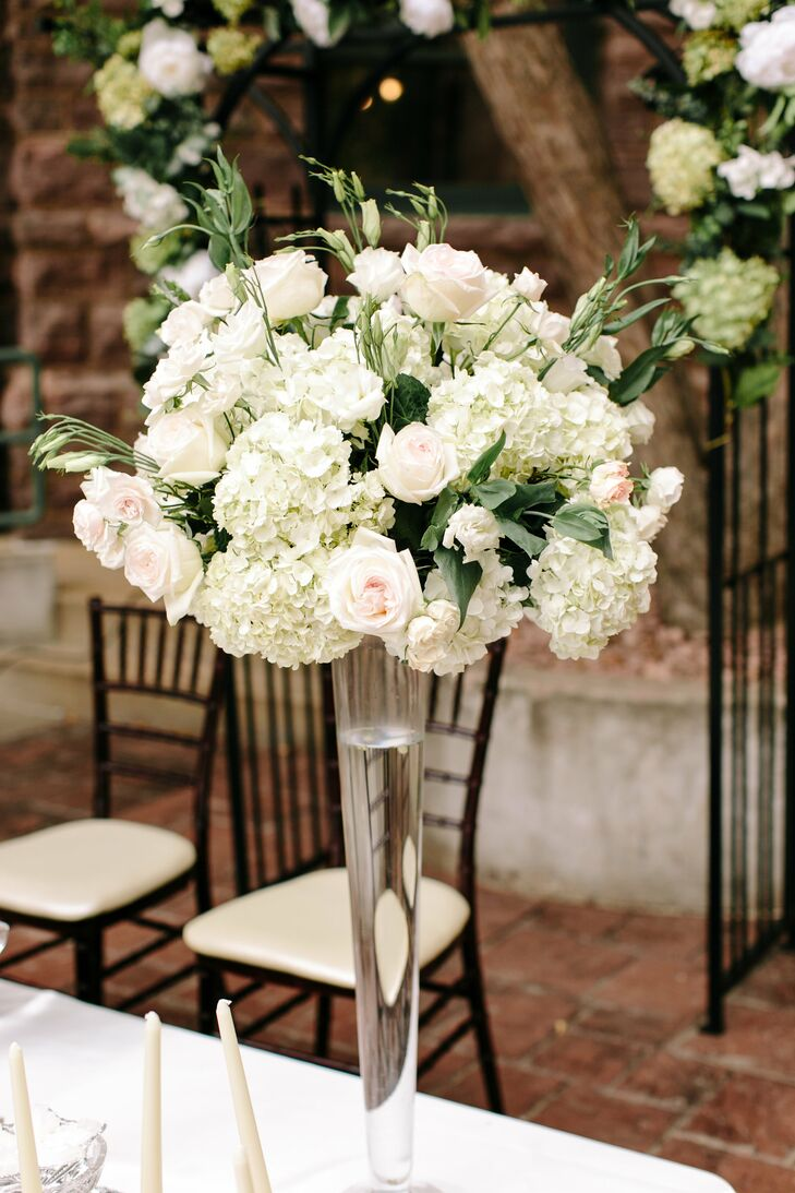 Fresh Ivory and Blush Rose and Hydrangea Arrangement