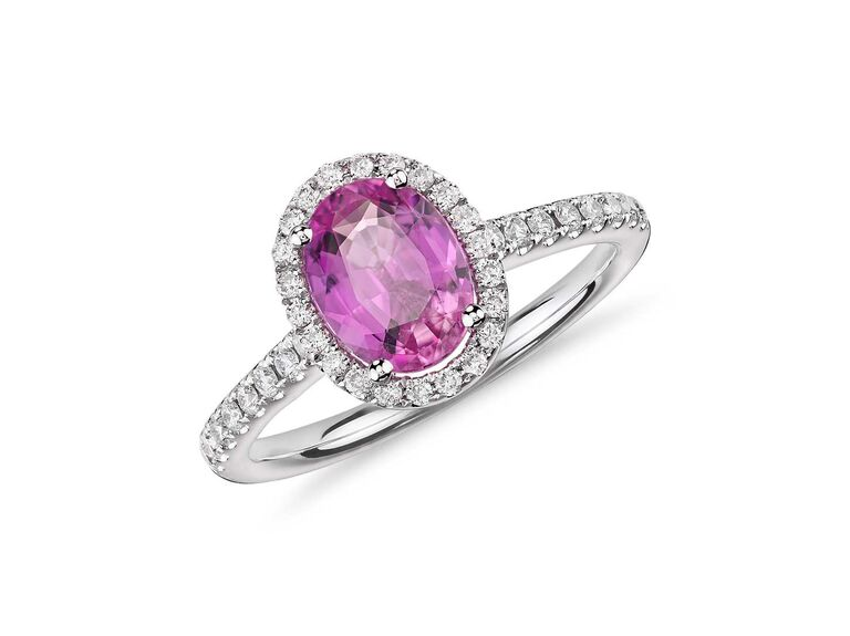Blue Nile pink sapphire and micropavé diamond halo ring in 14K white gold