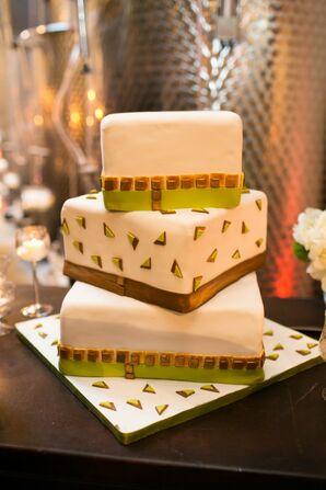 Green & Gold Confetti Fondant Cake