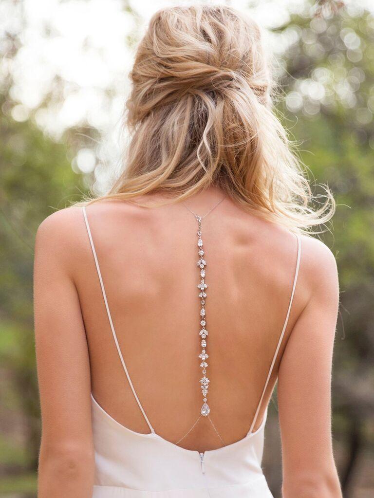 Silver crystal wedding backdrop necklace