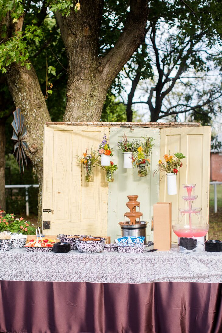 Dessert Table with Door and Hanging Floral Backdrop