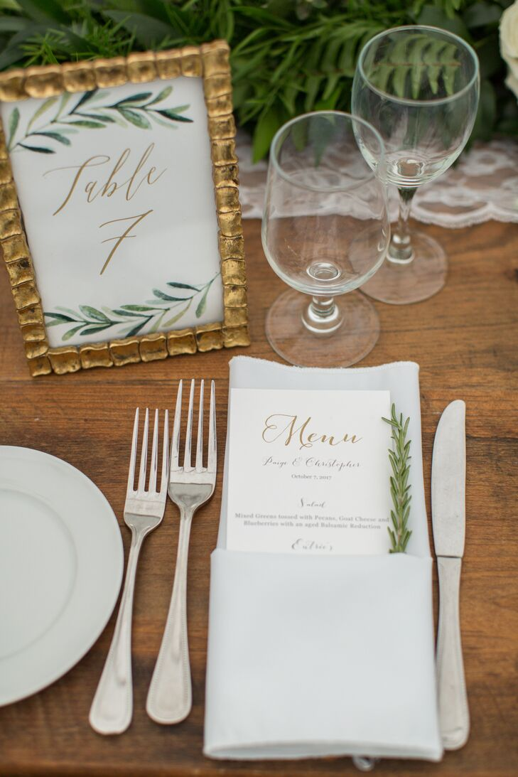 Gold and Greenery Table Number Paired with Simple, Elegant Menu and Rosemary Sprig