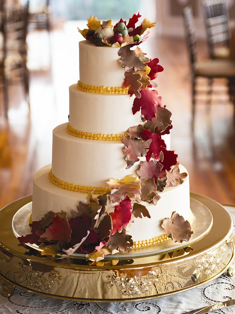 Fall Wedding Cake With Fondant Leaves
