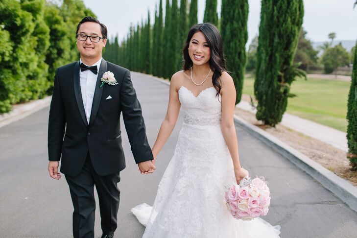 """As a nod to the couple's Disneyland engagement, the wedding party entered the reception to the """"Fantasmic"""" theme music."""