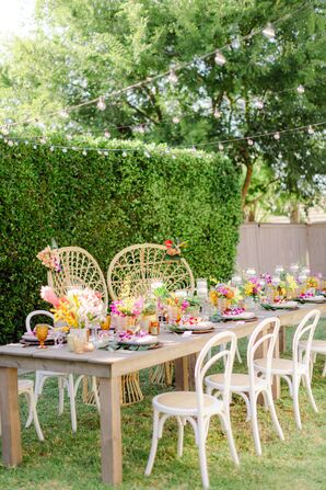 Bohemian Table Design at Backyard Minimony in Southern California