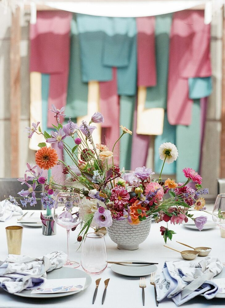 Vibrant Centerpiece and Jewel-Tone Backdrop for Wedding at Sotto Sotto in Atlanta, Georgia