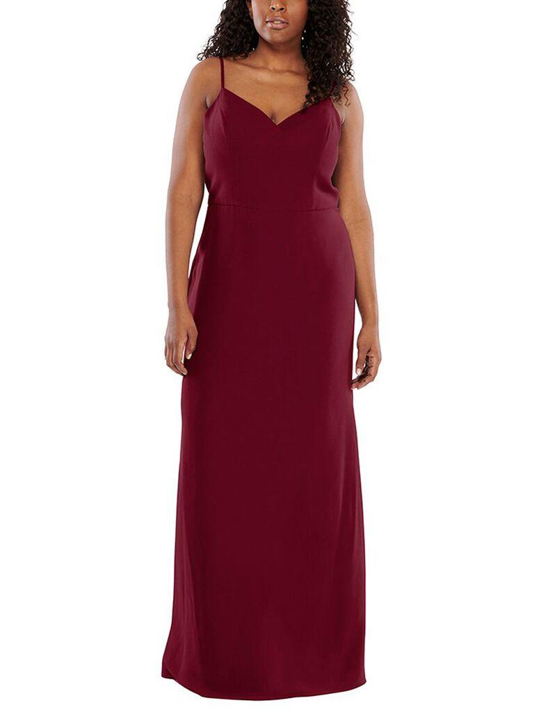 Red v neck plus size bridesmaid dress