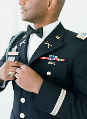 Groom in Military Service Uniform at The Ivory Oak in Wimberley, Texas