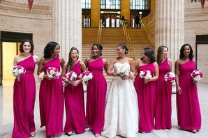 Fuchsia One-Shoulder Bridesmaid Dresses