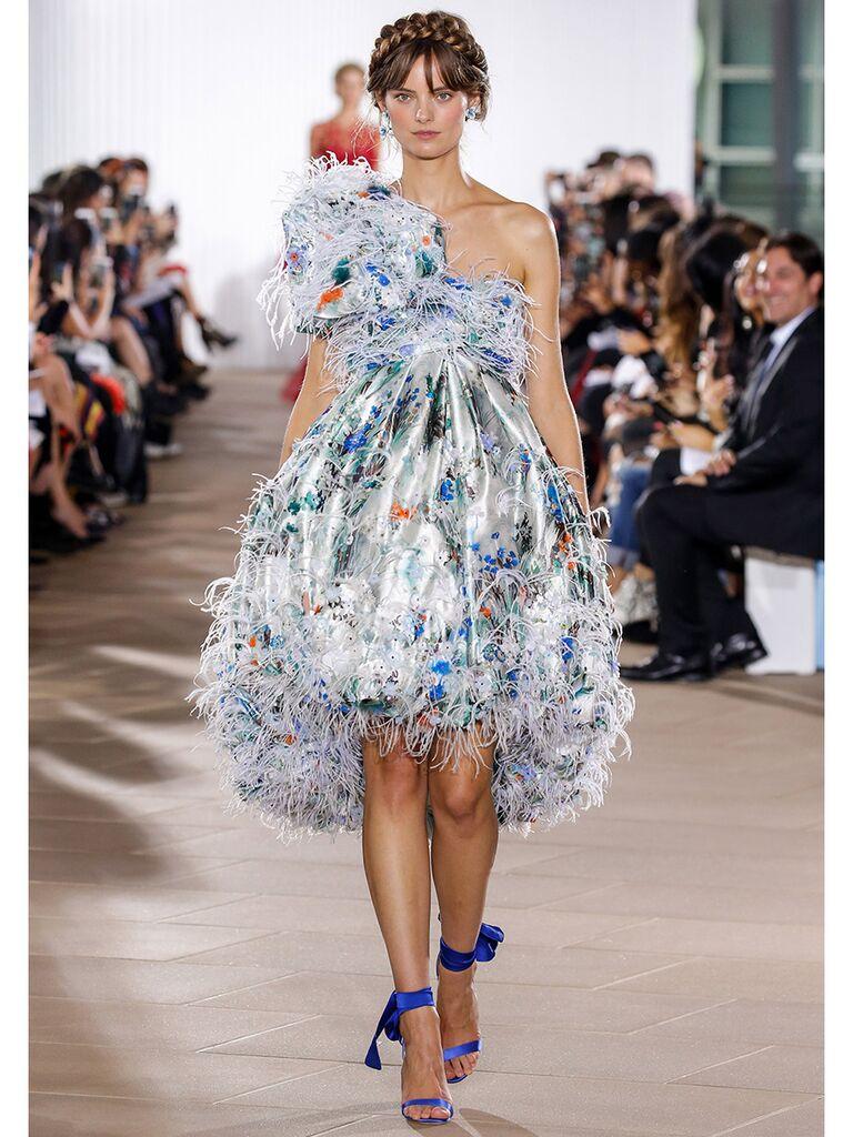 Ines Di Santo wedding dress colorful one-shoulder mini dress