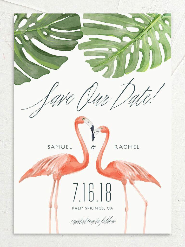 flamingo destination wedding save the date