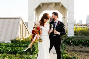 Couple Portraits at Rooftop Garden Wedding in Brooklyn
