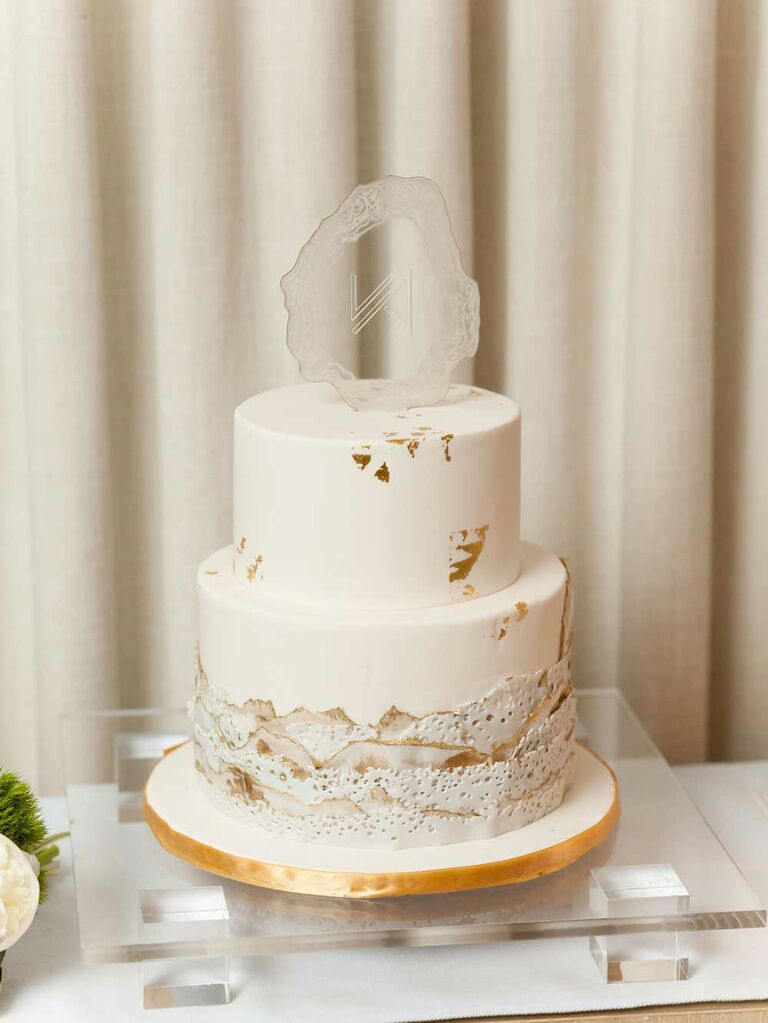 White wedding cake with geode topper