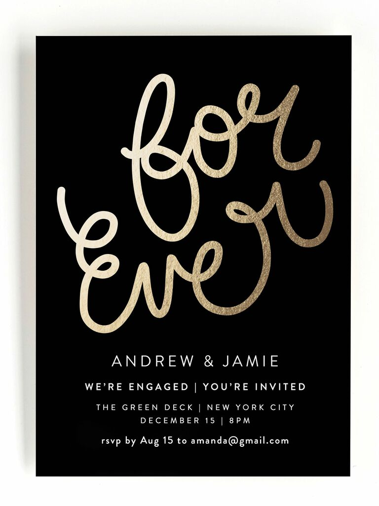 Cute black engagement party invitation