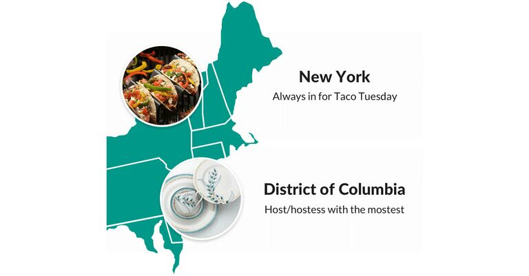 the knot registry most popular products in new york (tacos) and dc (dinnerware)