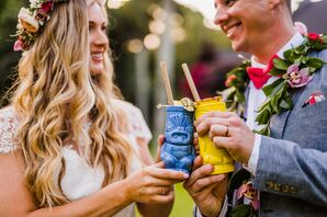 Bride and Groom with Cocktails in Tropical Tiki Glassware