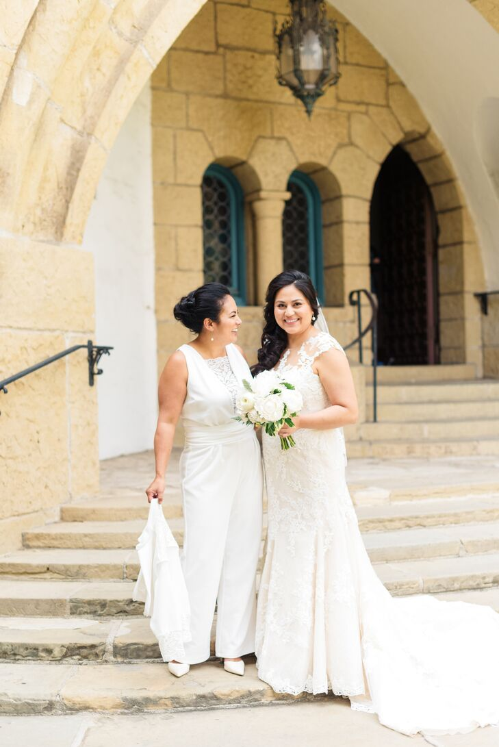 """We knew we wanted both the ceremony and reception outside to take advantage of the sun,"" Andrea says. The couple chose the Sunken Gardens at the Santa Barbara County Courthouse for the ceremony, followed by a backyard reception at the nearby Riviera Mansion."