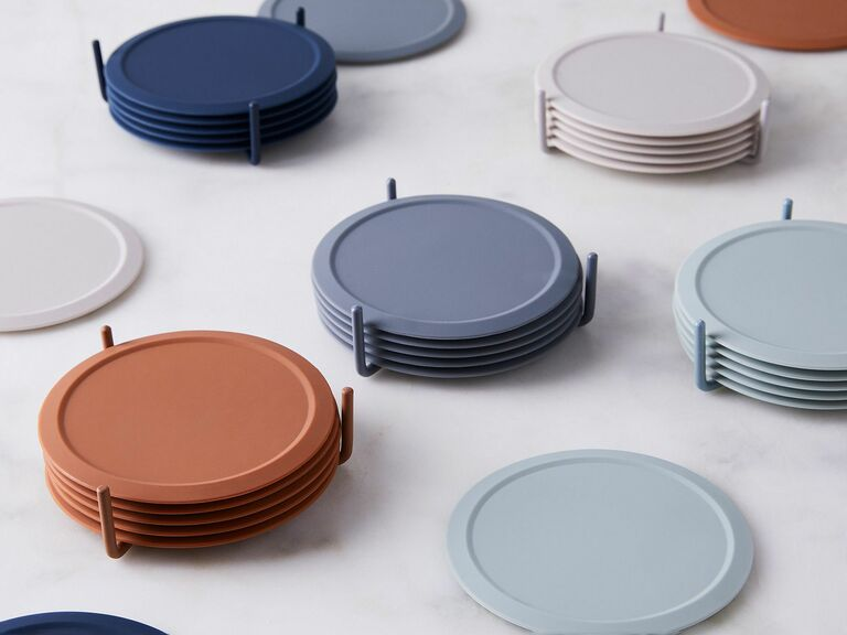 silicone coasters in earthy colors